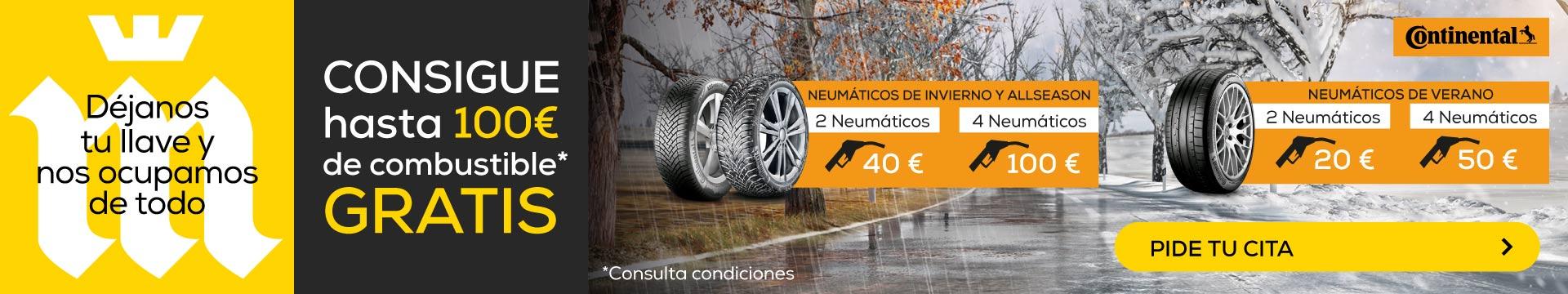 Compra Neumáticos CONTINENTAL y llévate hasta 100€ en combustible